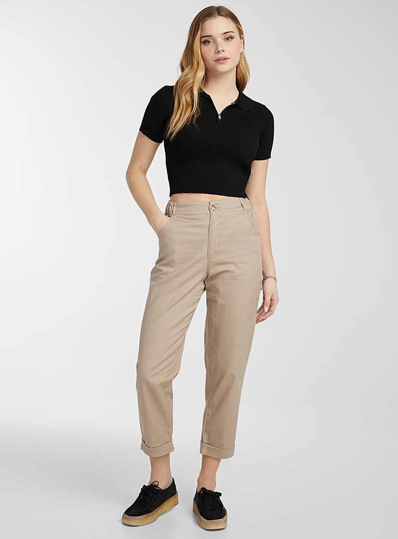 Twik Sand Cotton and linen utility pant for women