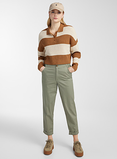 Cotton and linen utility pant