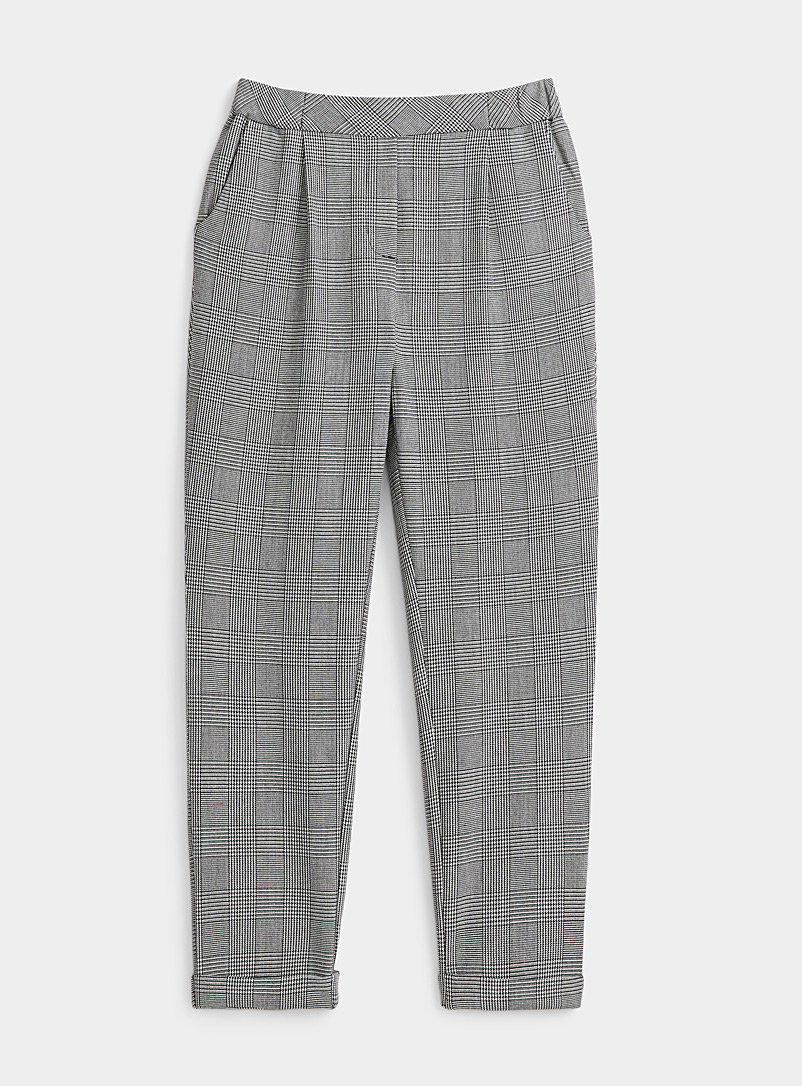 Twik Patterned White Pleated check pant for women