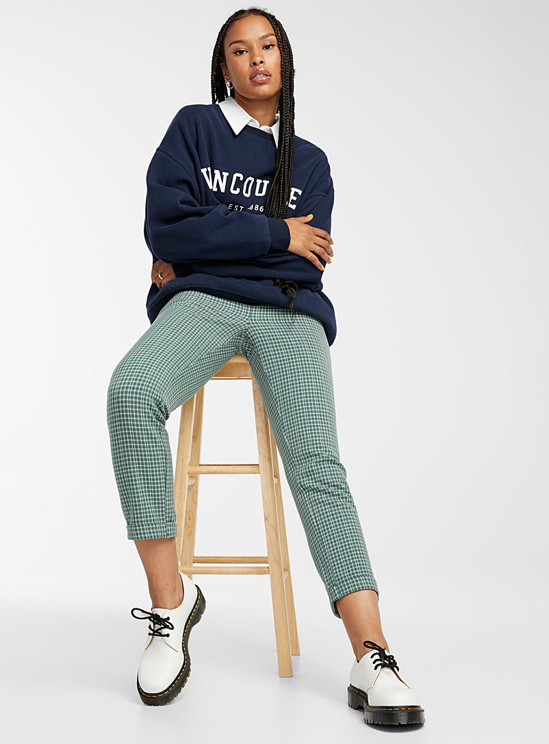 Twik Patterned Green Pleated check pant for women
