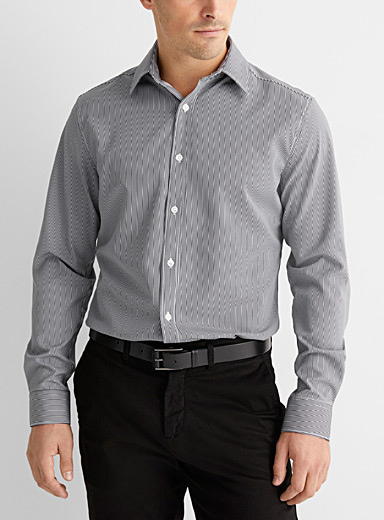 Le 31 Black and White Patterned recycled polyester shirt  Athletic fit for men