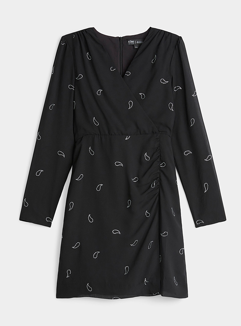 Icône Black Silky recycled polyester crossover dress for women