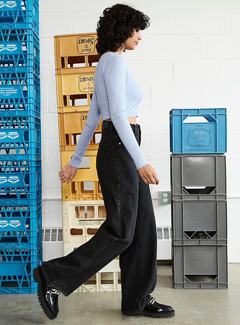 Twik: Le jean jambe extralarge Oxford pour femme