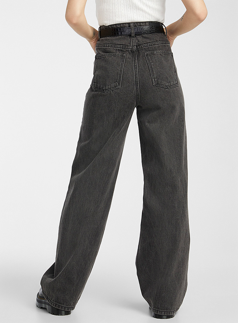 Twik: Le jean jambe extralarge Coupe R&B Oxford pour femme