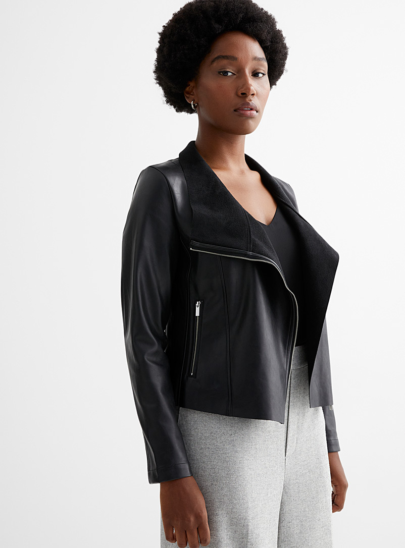 Contemporaine Black Asymmetric zip faux-leather jacket for women