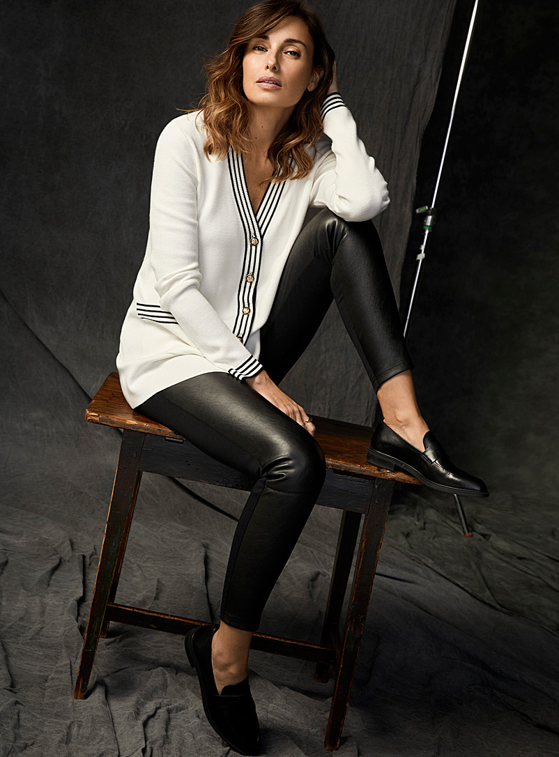 Contemporaine Black Faux-leather front legging for women
