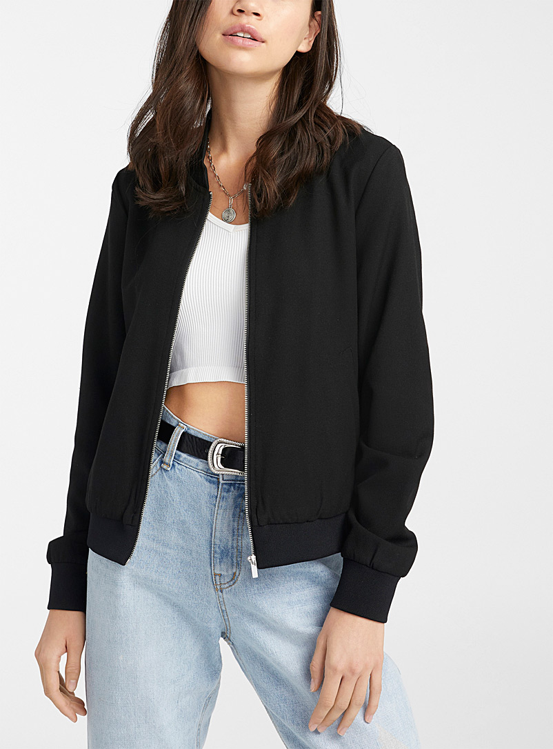 Twik Black Woven bomber jacket for women