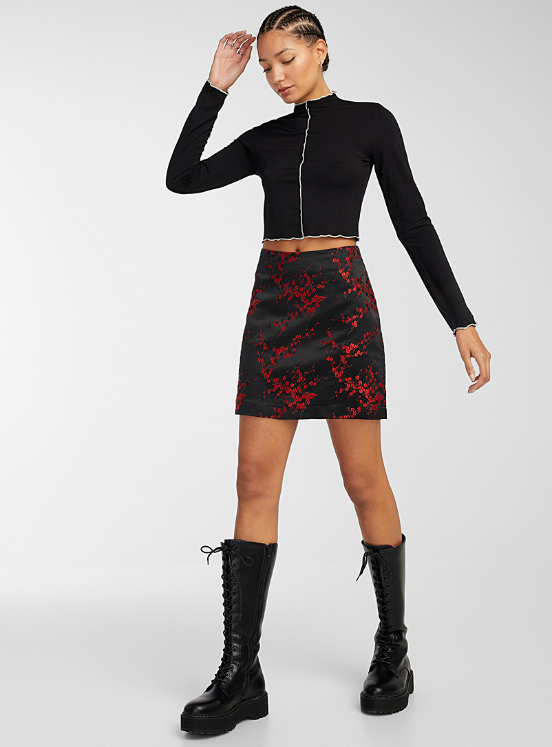 Twik Black Cherry blossom and bamboo satiny miniskirt for women