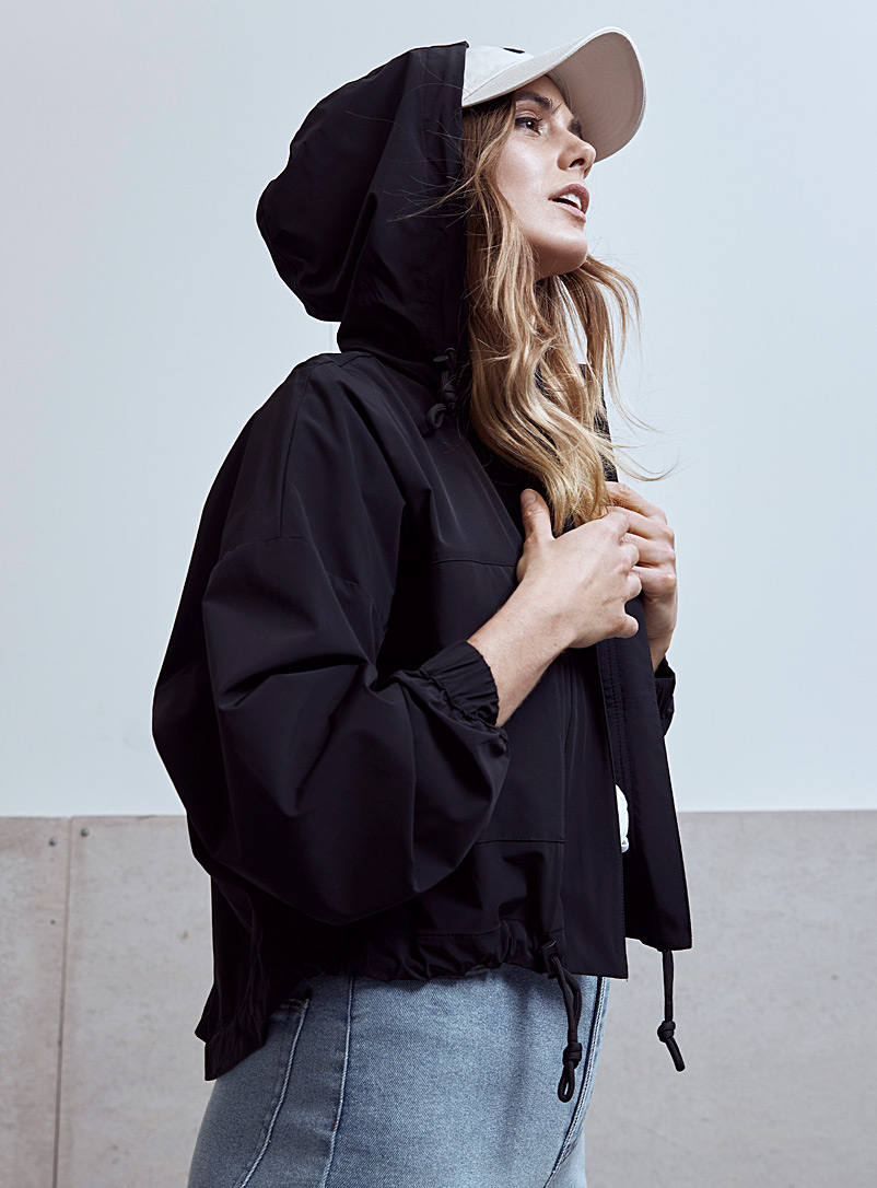 Icône Black Recycled nylon hooded jacket for women