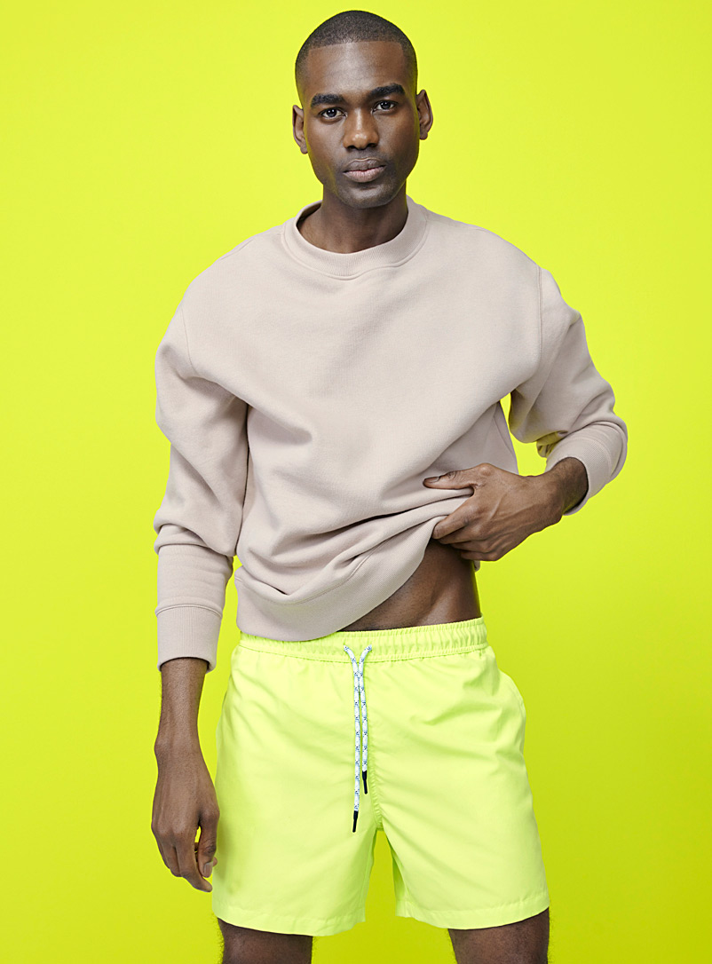 I.FIV5 Lime Green Monochrome recycled polyester swim trunk for men