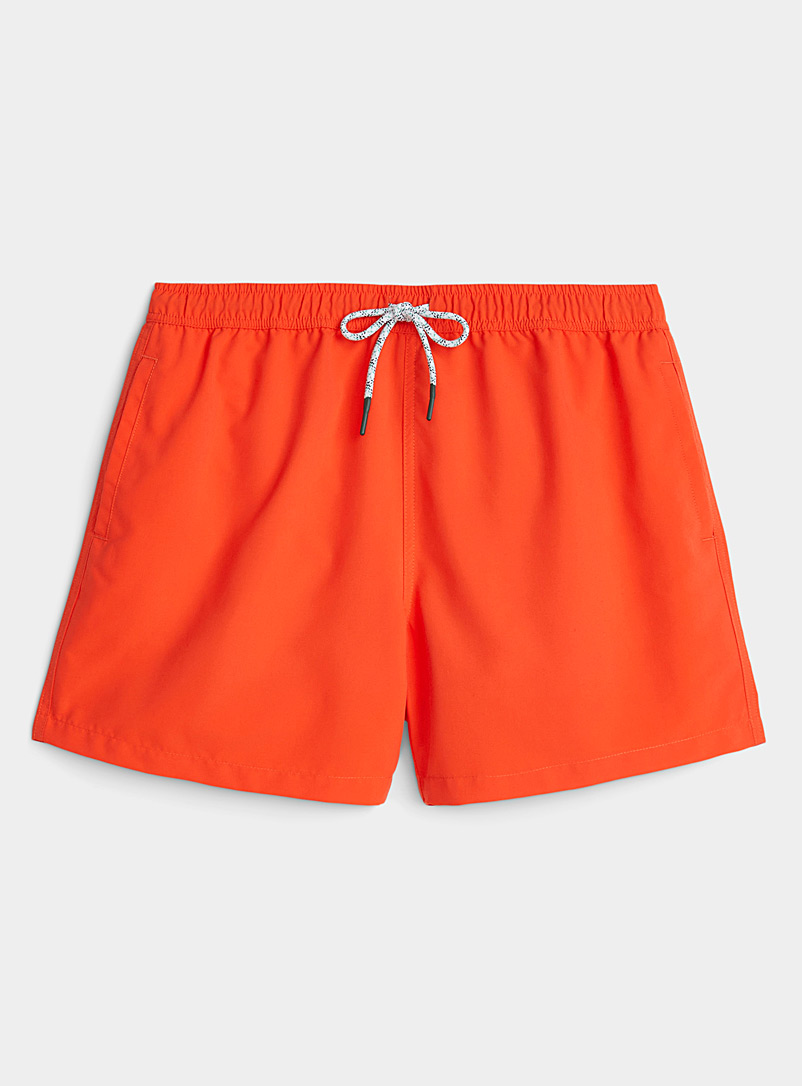 I.FIV5 Red Monochrome recycled polyester swim trunk for men