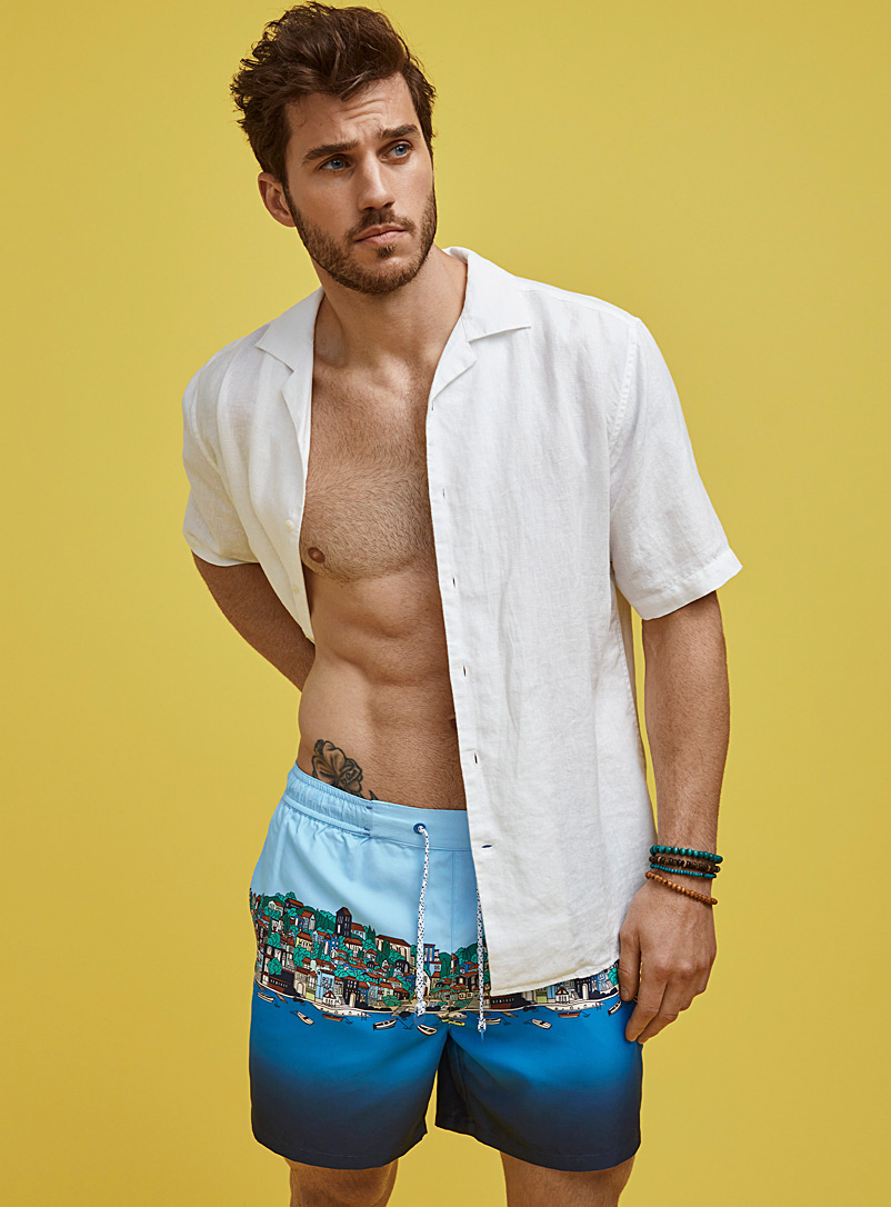 I.FIV5 Baby Blue Riviera swim trunk for men