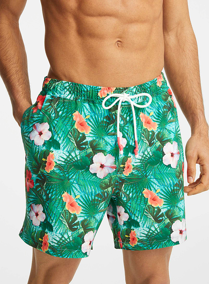 I.FIV5 Patterned Green Recycled fibre stretch swim trunk for men
