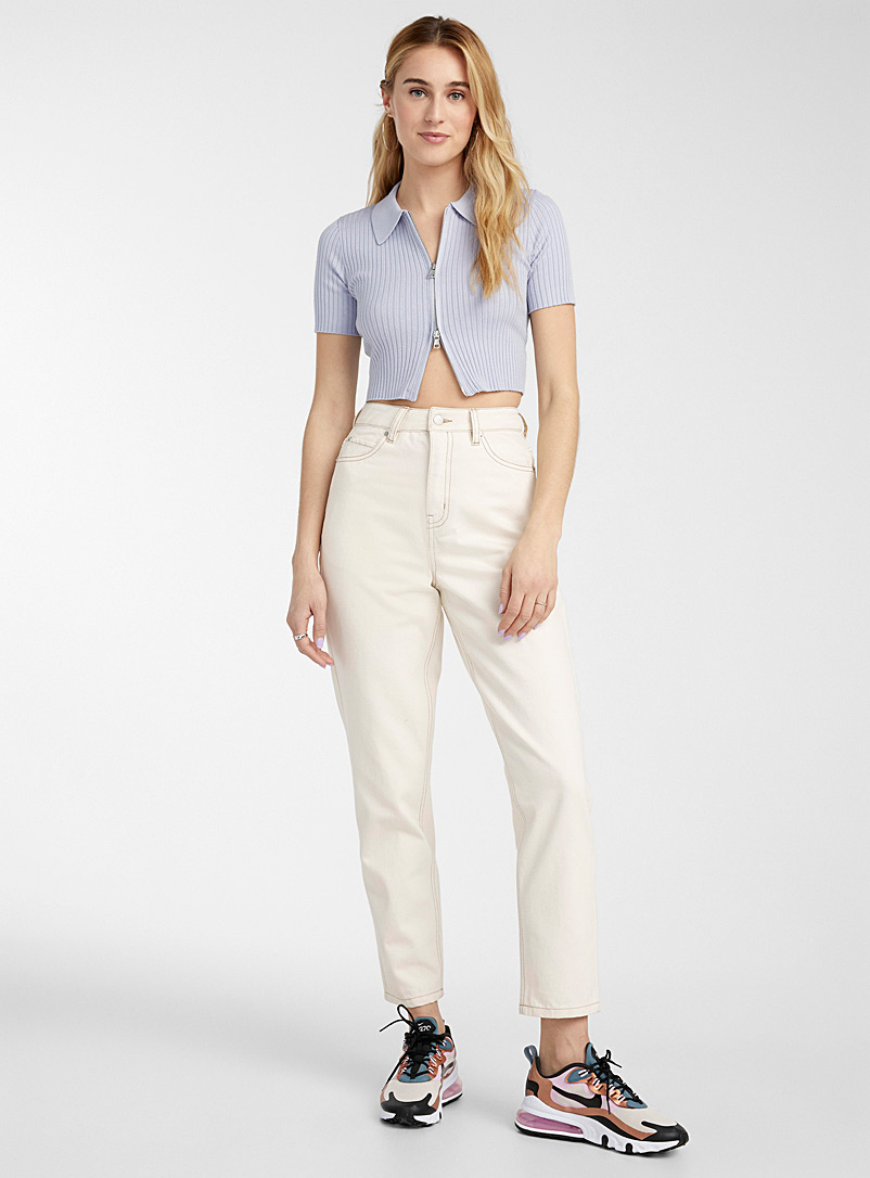 Twik Ivory White Organic cotton vintage mom jean Old School fit for women