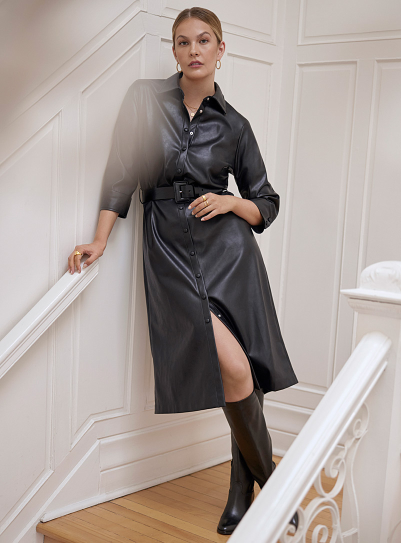 Contemporaine Black Faux-leather belted shirt dress for women