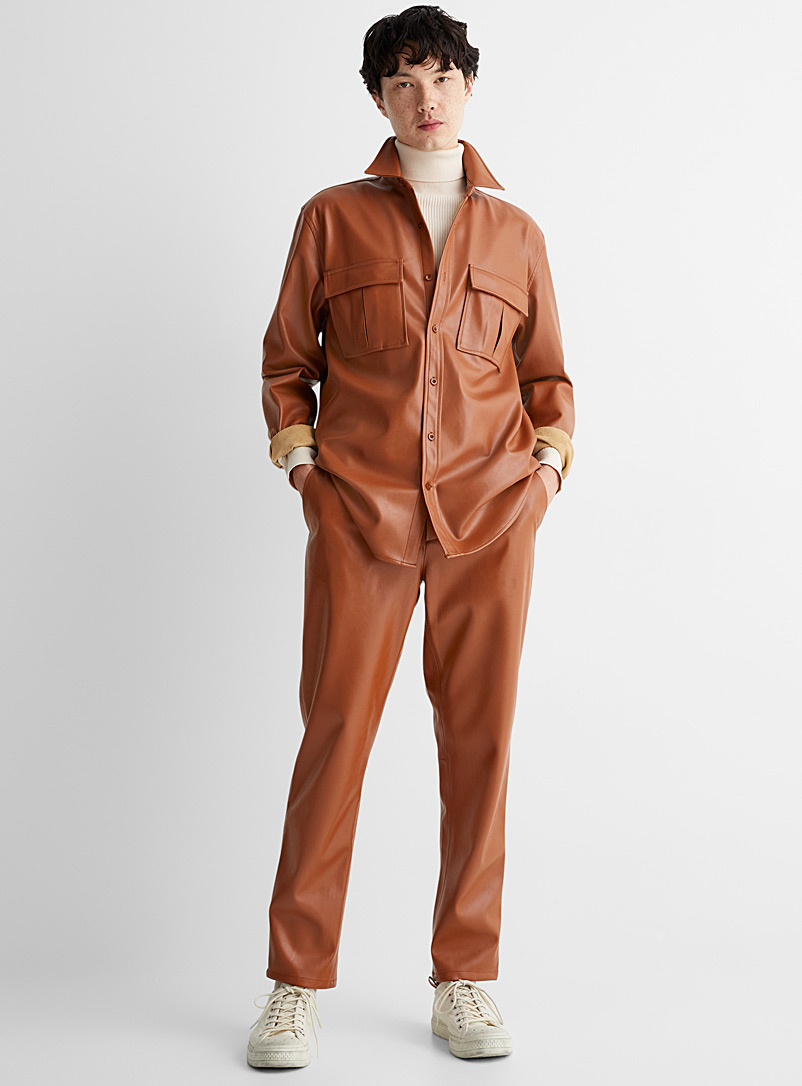 Le 31 Brown Faux-leather overshirt for men