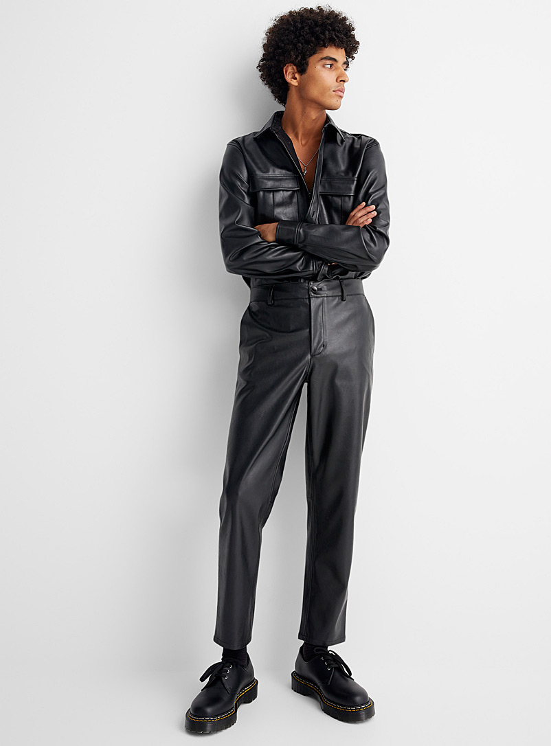 Le 31 Black Faux-leather pant Tapered fit for men
