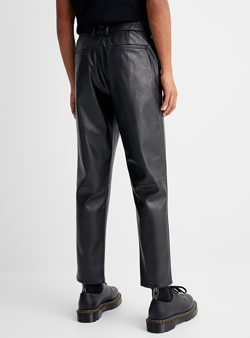 Le 31 Brown Faux-leather pant Tapered fit for men