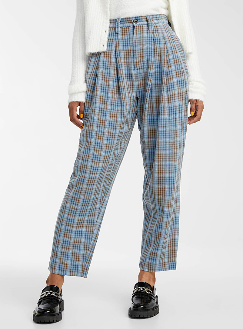 Twik Patterned Yellow Check pleated balloon pant for women