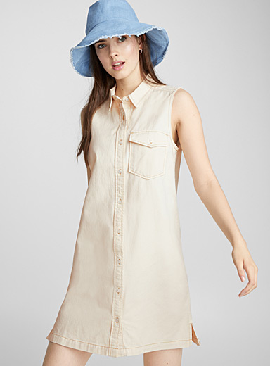 Sleeveless ivory denim dress
