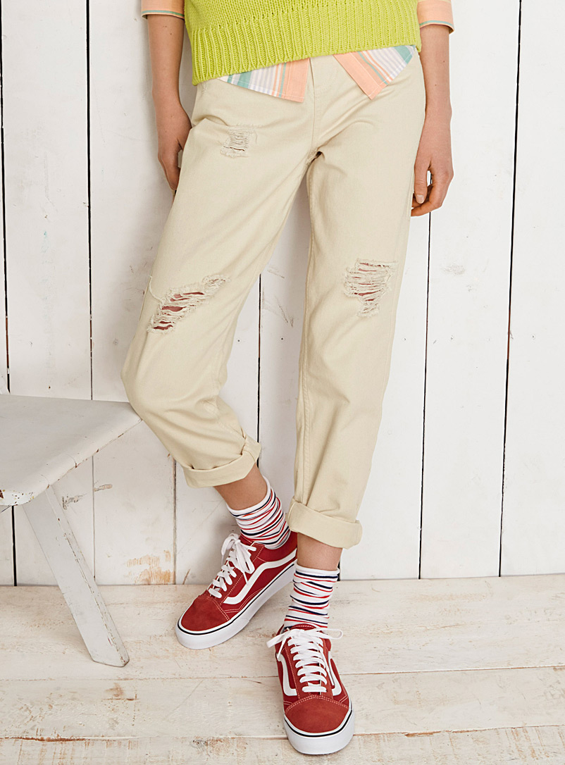 Sand distressed high-rise jean - High Rise - Ivory White