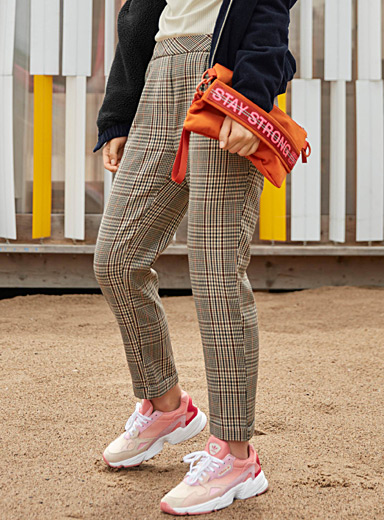 Plaid pleated pant