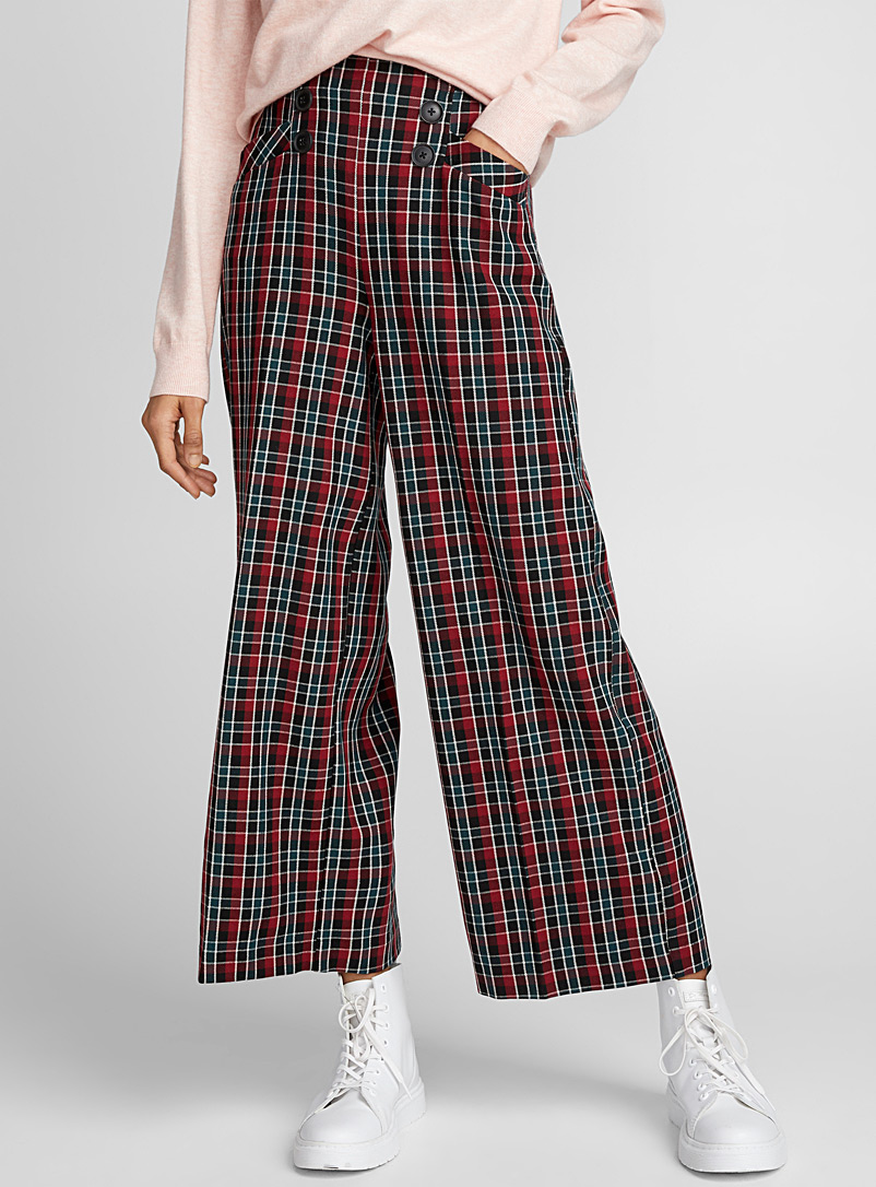 Buttoned check pant - Wide leg - Patterned Red