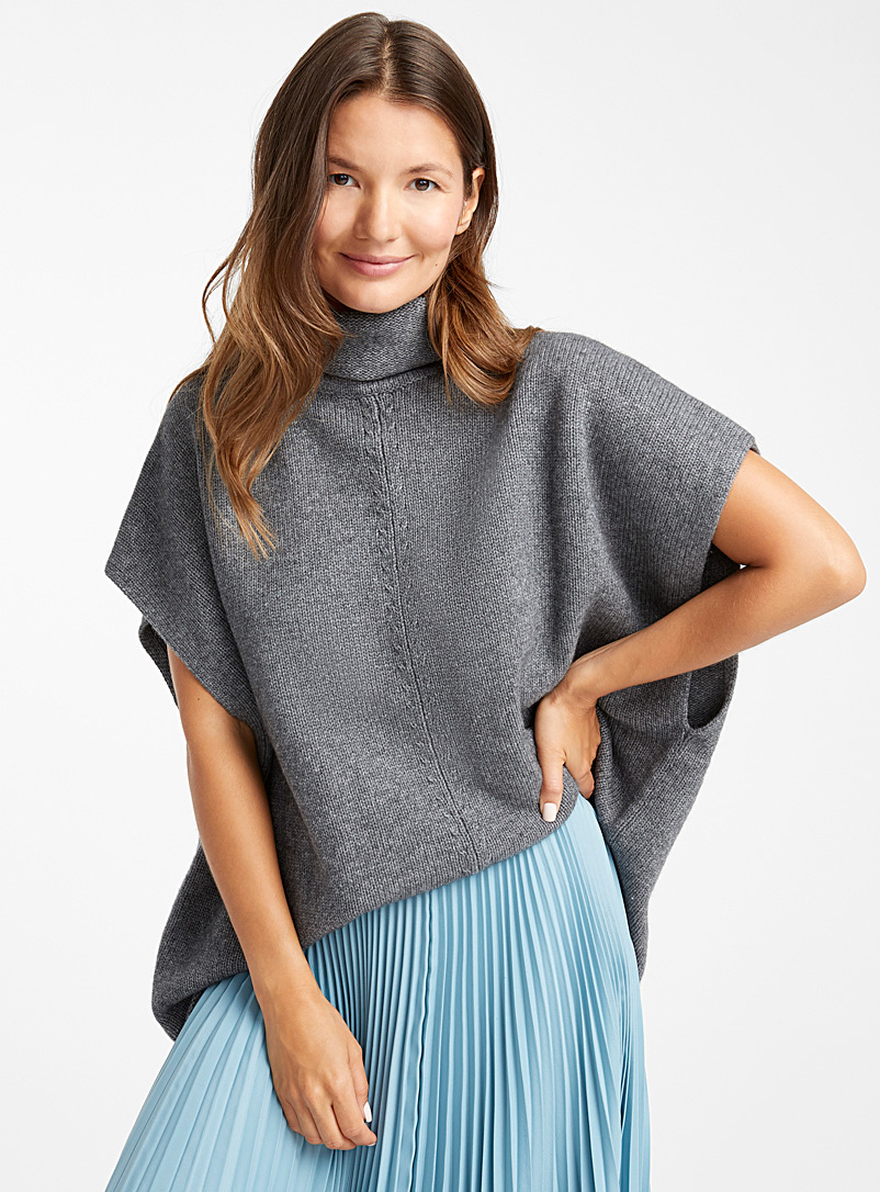Wool-cashmere high neck poncho - Sweaters - Dark Grey