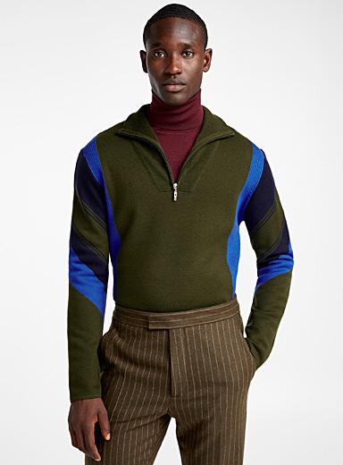 Colour block half-zip sweater