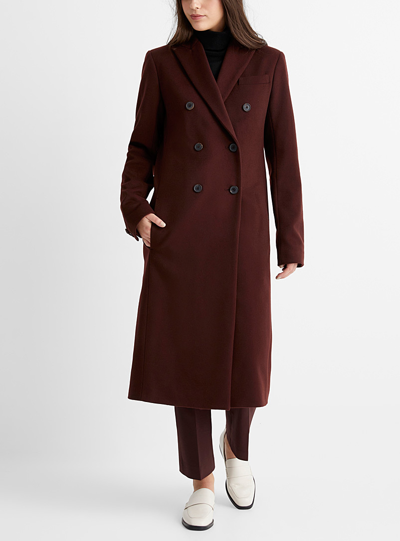 Joseph Medium Brown Cam double-breasted wool overcoat for women