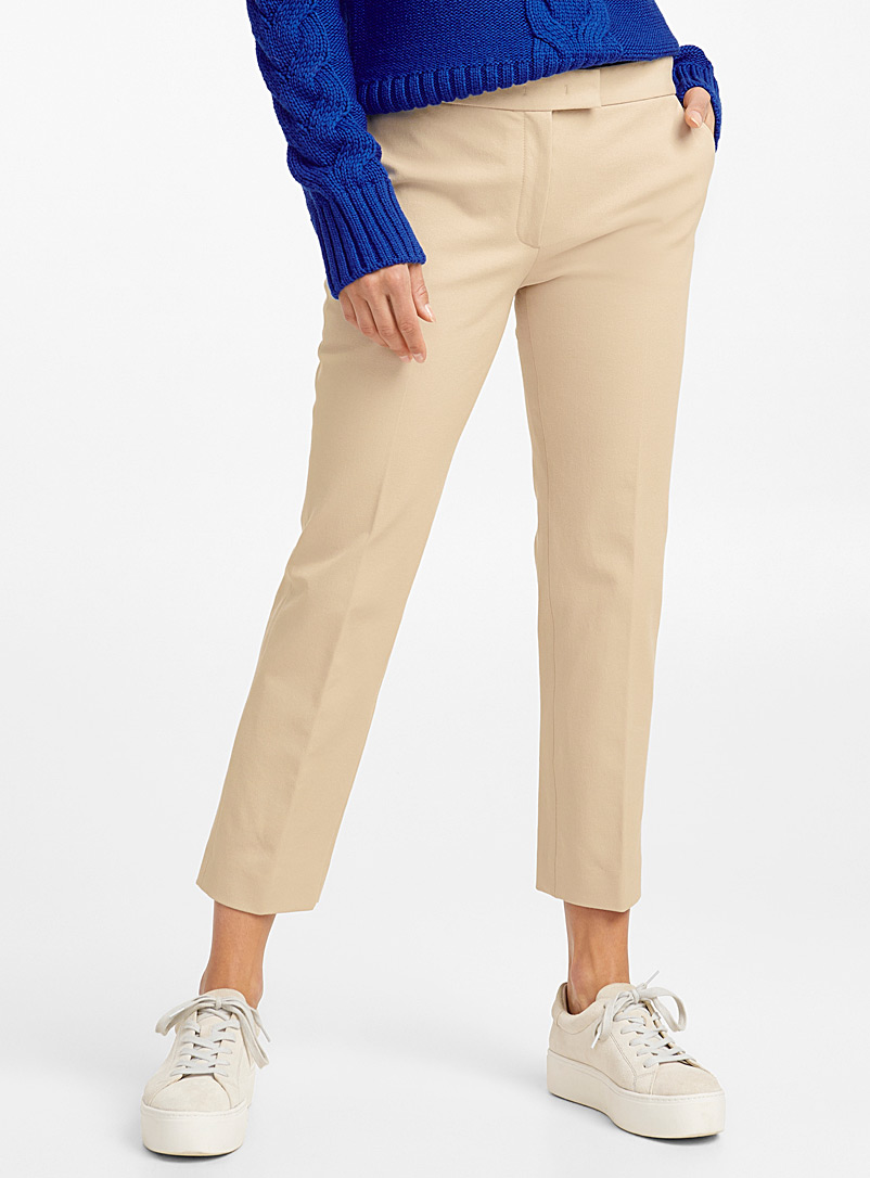 Pebble sand slim-fit pant - Collections - Patterned Ecru