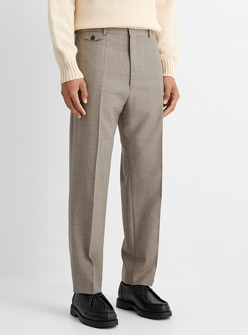 Ecole de Pensée Ivory White Heathered sand-coloured straight pant for men