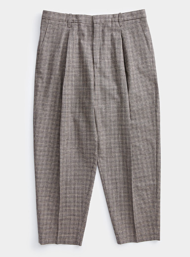 Ecole de Pensée Grey Check parachute pant for men