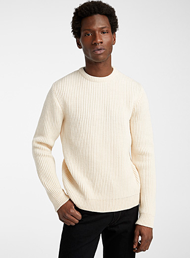 Ecole de Pensée Ivory White English ribbed sweater for men