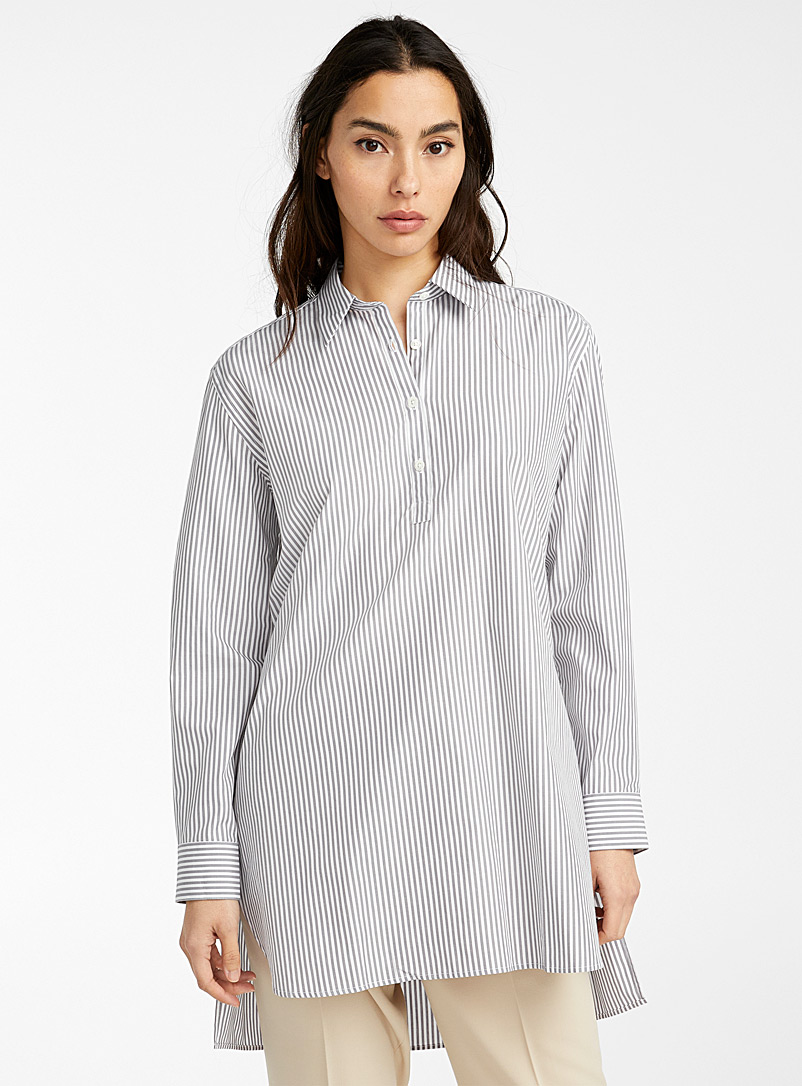 Ecole de Pensée Patterned Grey Liquette shirt for women