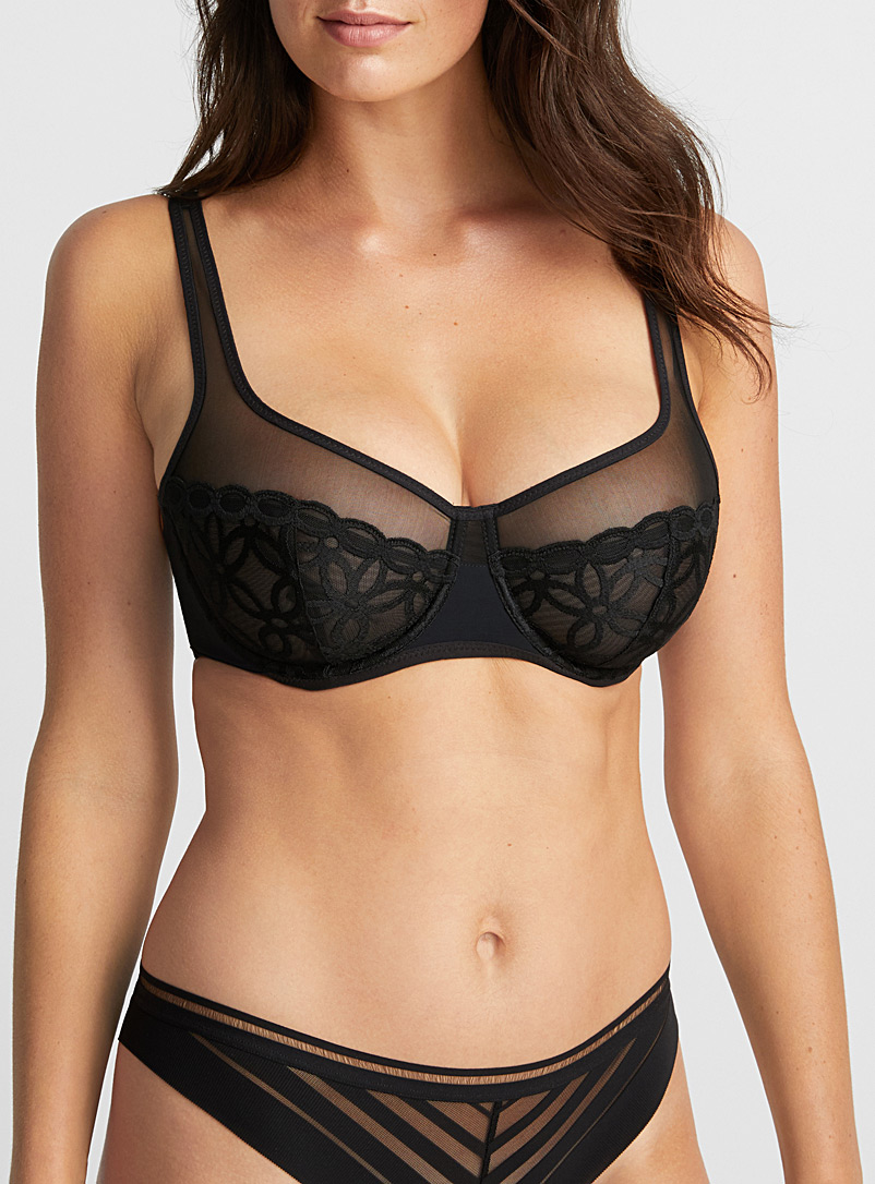 Glam embroidered lace full coverage bra - Unlined - Black