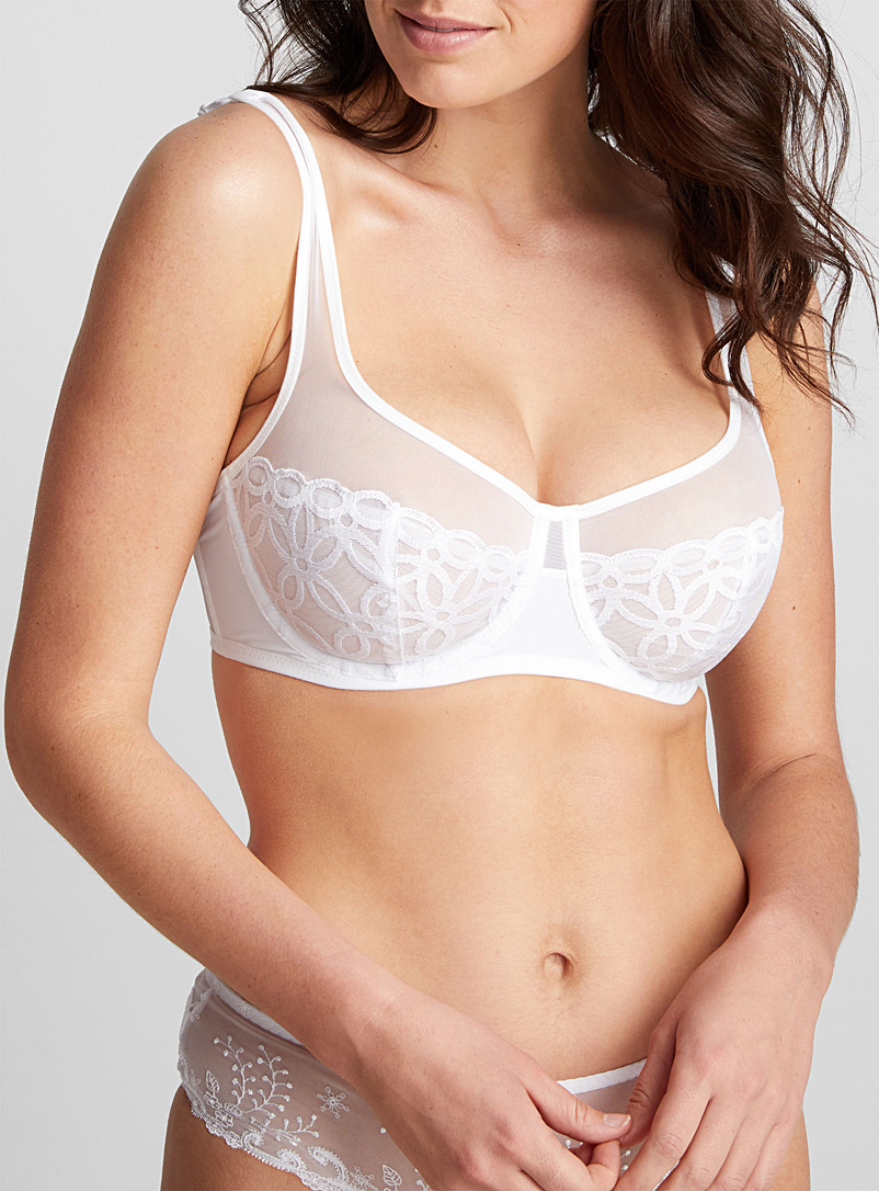 DIM White Glam embroidered lace full coverage bra for women