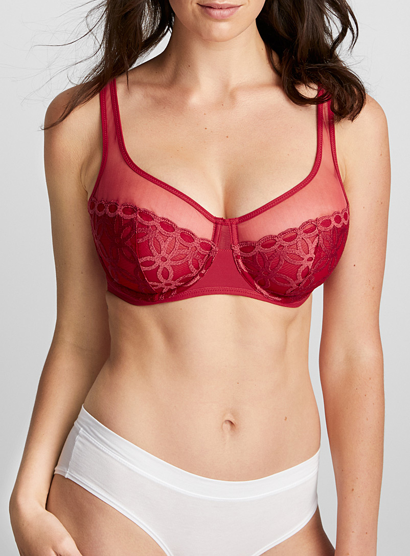 Embroidered flower ruby balconette bra - Unlined - Red