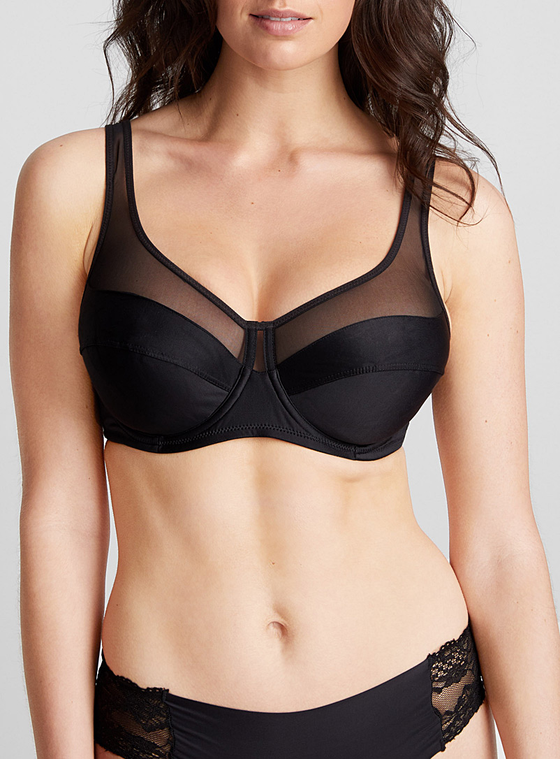 DIM Black Tulle-insert full coverage bra for women