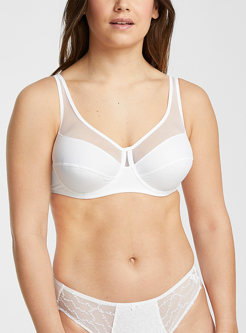DIM White Tulle-insert full coverage bra for women