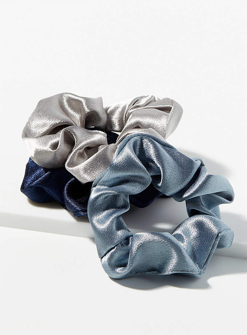 Simons Blue Maxi satiny scrunchies for women