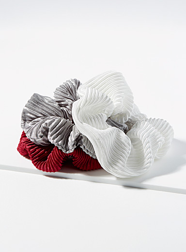Simons Assorted Ribbed satin scrunchies  Set of 3 for women