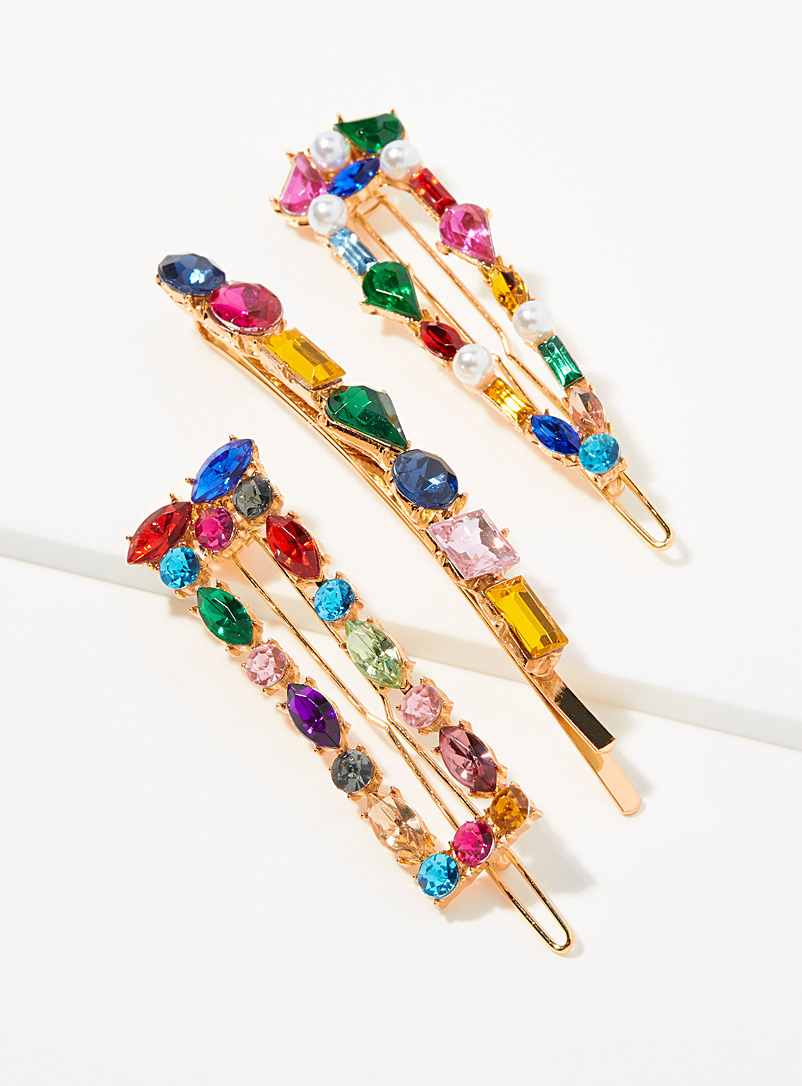 Simons Assorted Crown gem clips  Set of 3 for women