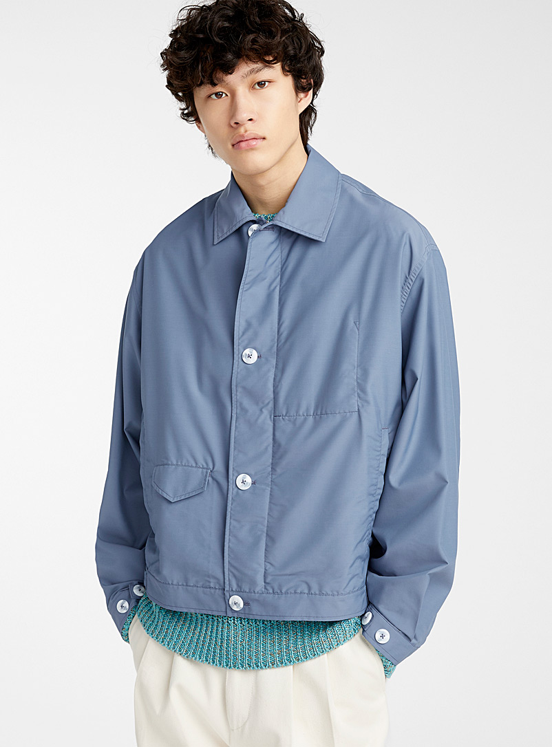 E.Tautz Blue Classic Harrington jacket for men