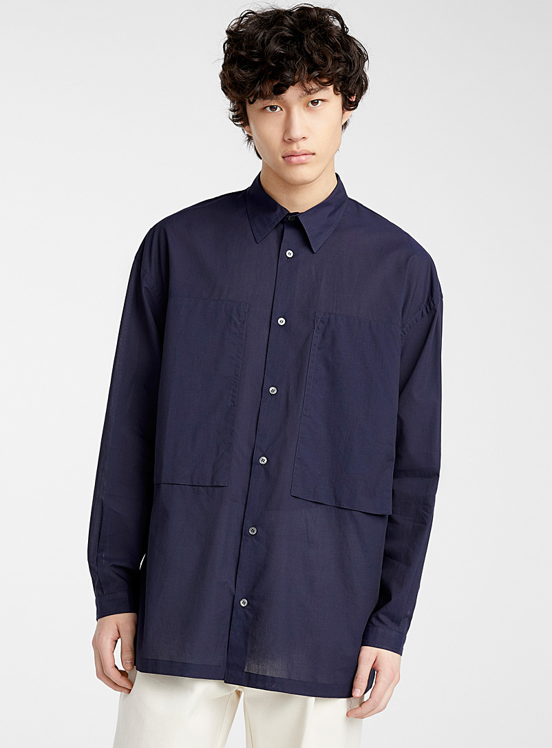 E.Tautz Marine Blue Solid shirt for men