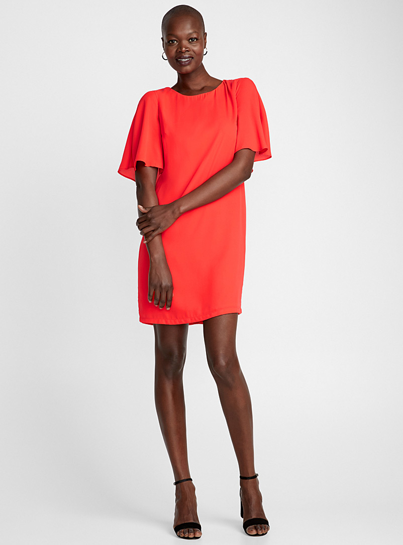 Back cape fluid dress - Straight - Bright Red