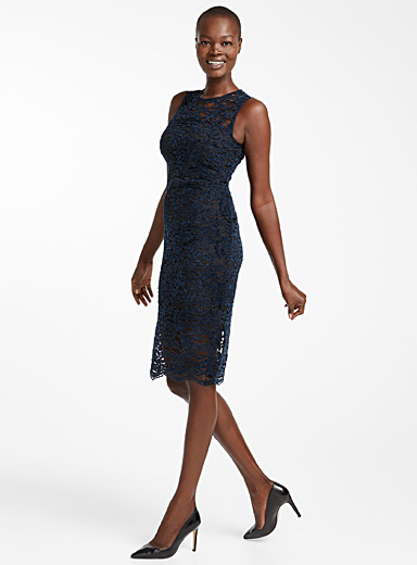 Velvet lace fitted dress