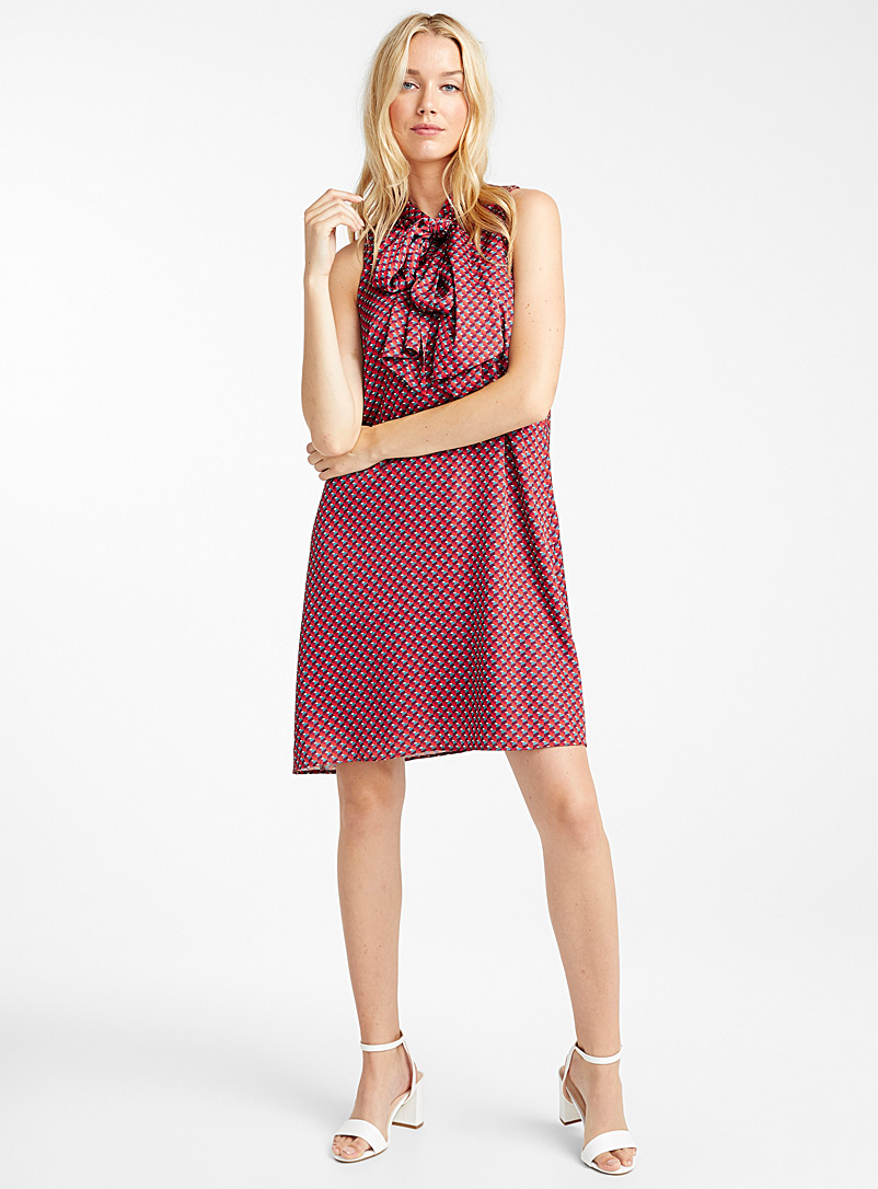 geo-mosaic-tie-neck-dress