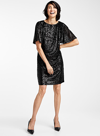 Ruffle-sleeve sequin dress