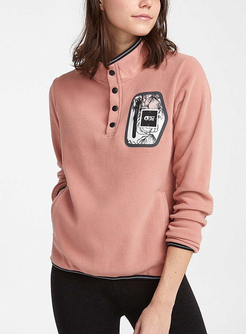 Clay playful-pocket fleece mock neck